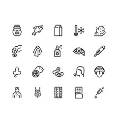 Allergy line icons sneeze cough high vector