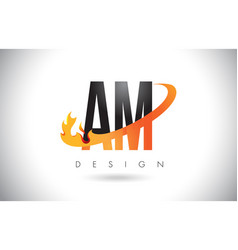 Am a m letter logo with fire flames design vector