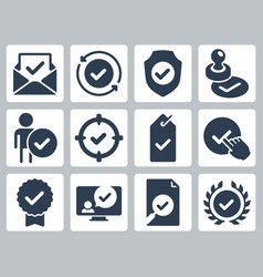 approve check mark and confirm icon set vector image