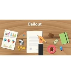 Bailout concept with businessman working on paper vector
