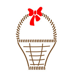 basket with bow sign 412 vector image