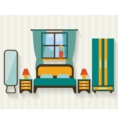 Bedroom with furniture vector