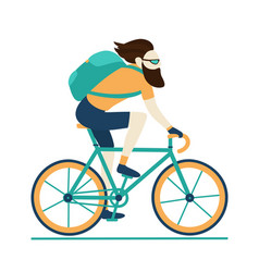 Bike messenger courier male hipster yellow blue vector