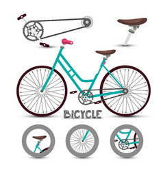 Bike symbol bicycle icon with parts vector