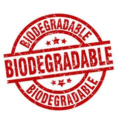 Biodegradable round red grunge stamp vector