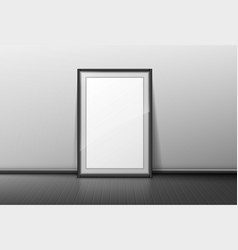 blank frame on grey wall background empty border vector image