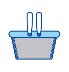 blue contour of shopping basket vector image
