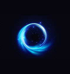 Blue flare circle glowing light effect neon glow vector