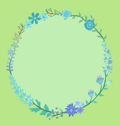 Blue flower wreath circle frame vector
