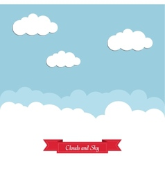 Blue sky with white clouds and a red ribbon vector