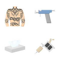 body tattoo piercing machine napkins tattoo set vector image