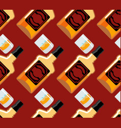 Bottle scotch seamless pattern glass of whiskey vector