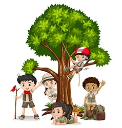 Boys and girls climbing tree vector