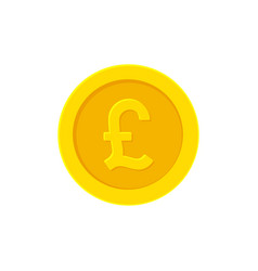 British pound golden coin flat icon isolated vector