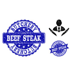 Butchery boss textured icon and seals vector