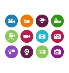 Camera circle icons on white background vector image