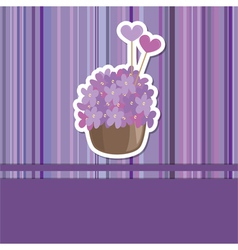 card with flower basket vector image