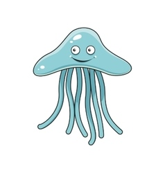 Cartoon blue jellyfish with long tentacles vector