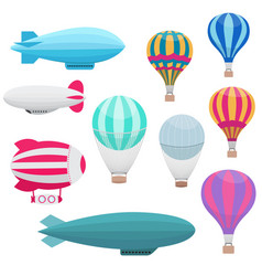 cartoon hot air balloons set vector image