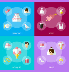 cartoon wedding celebration symbols banner set vector image