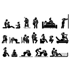 Childbirth labor positions and postures at home vector