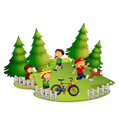 Children playing in park vector