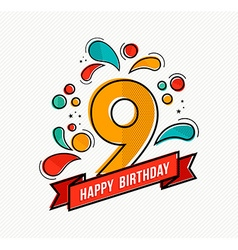 Colorful happy birthday number 9 flat line design vector image
