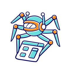 Crawler color icon spiderbot search engine vector