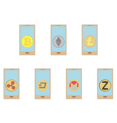 Crypt coins in the phone on a white background vector