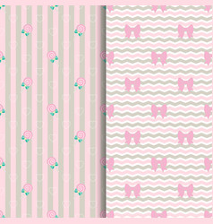 cute pattern lollipop and bow in pink vector image
