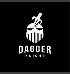 dagger and knight logo icon vector image