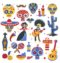 day dead traditional symbols mexican vector image