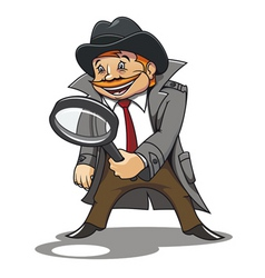Detective with magnifying glass for cartoon design vector