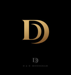Double d monogram logo gold letter drop vector