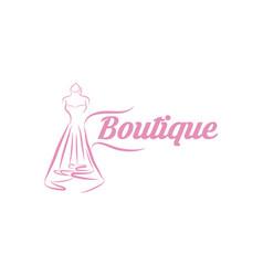 Dress boutique or fashion atelier salon icon vector