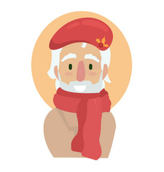 elderly artist in a red long scarf and beret vector image