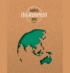 environment day card green cutout earth map vector image