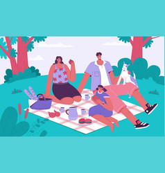 family spending time at picnic concept vector image