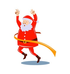 Father Christmas Santa Claus running a race vector image