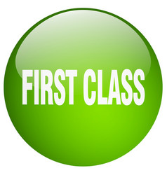 First class green round gel isolated push button vector