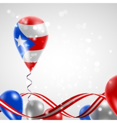 Flag of Puerto Rico on balloon vector