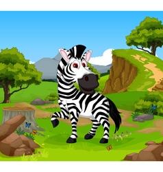 funny zebra cartoon in the jungle vector image