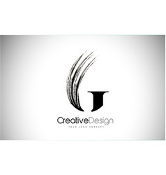 G brush stroke letter logo design black paint vector
