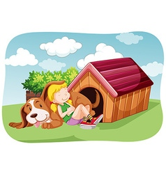 Girl and pet dog in the garden vector