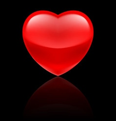 Glossy red heart on black vector