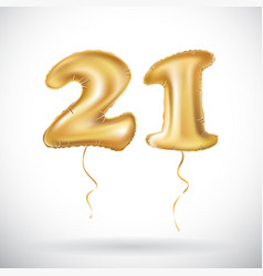 Golden number twenty one metallic balloon party vector