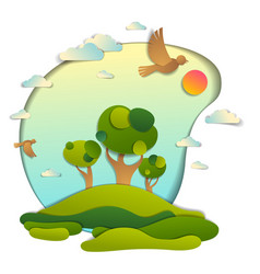 Green fields and trees scenic landscape of summer vector