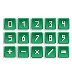 Green numeric button set vector