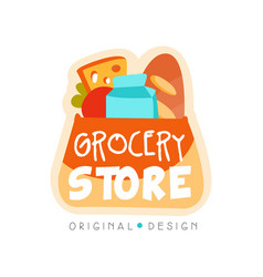 Grocery store logo design template fresh food vector