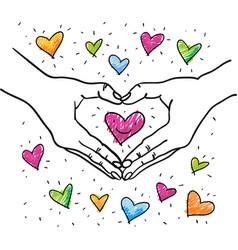 Hands forming heart shape around heart vector